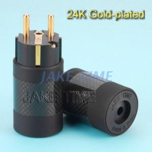 24K Gold-plated Audio Grade Power Cord Cable Schuko Plug (With Carbon Shell)
