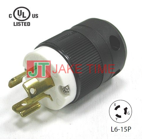 NEMA L6-15P Locking Type Plug, 250V AC/15A Current Rating, get UL/cUL Approved, with PC Body