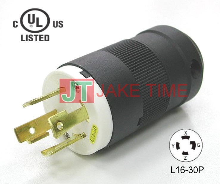 NEMA L16-30P Locking Type Plug, get UL/cUL Approved, 3Ø/4W, 480V AC/30A Current Rating, with PC Body